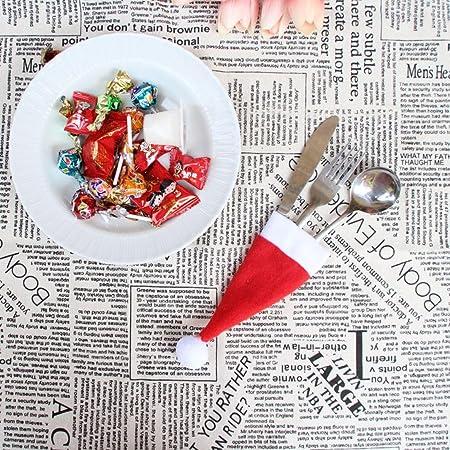 artistic9 (TM) tapas de Navidad cubiertos tenedor cuchara bolsillo Holder bolsa para vajilla de Navidad, Rojo, 10 piezas: Amazon.es: Hogar