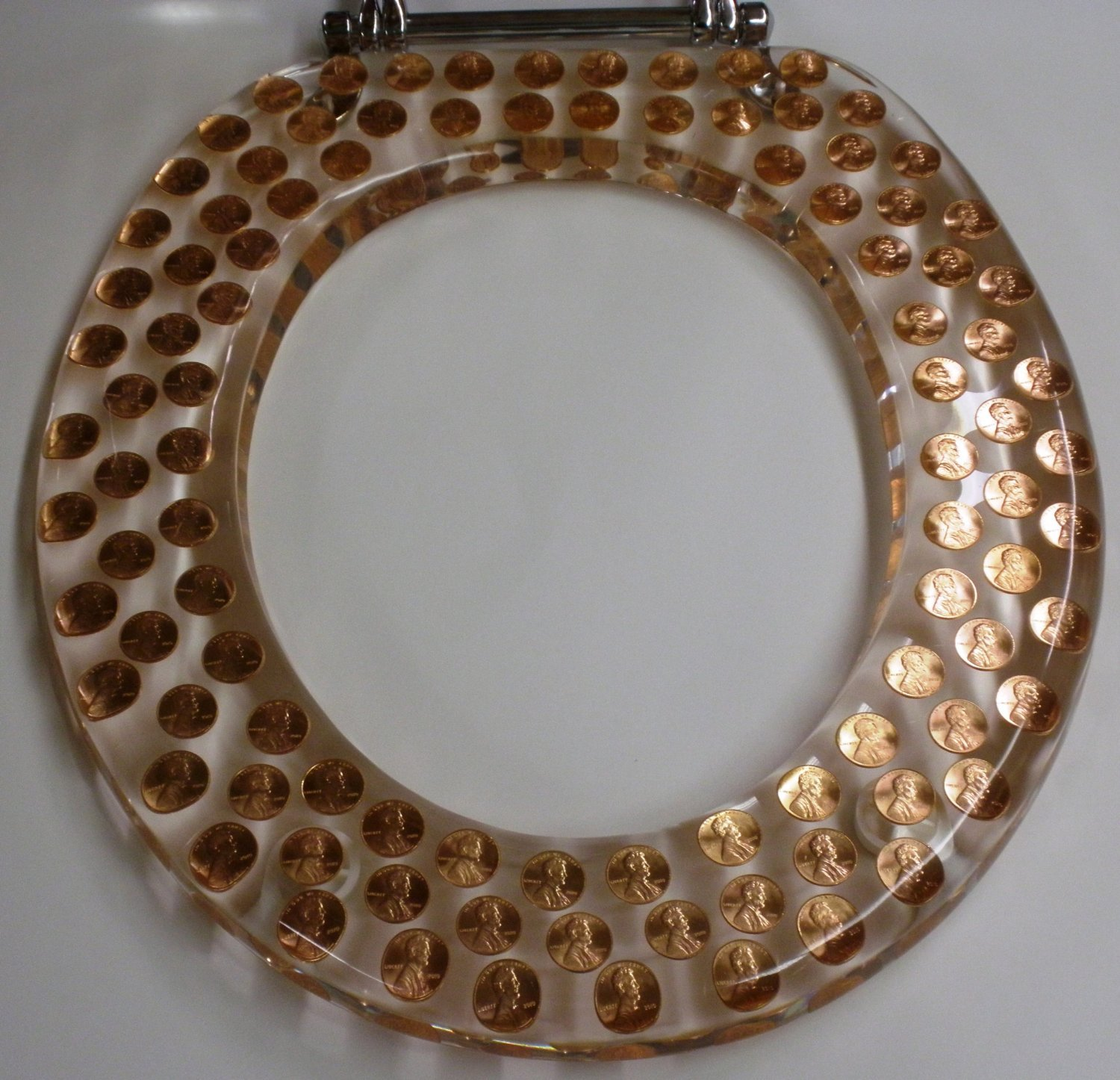REAL U.S. PENNIES COINS MONEY LUCITE RESIN TOILET SEAT , Standard Size Round Penny Toilet Seat (14.5'' x16'')