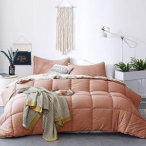 KASENTEX All Season Down Alternative Quilted Comforter Set - Hypoallergenic Duvet Insert - Machine Washable (Rose/Beige, King Set)