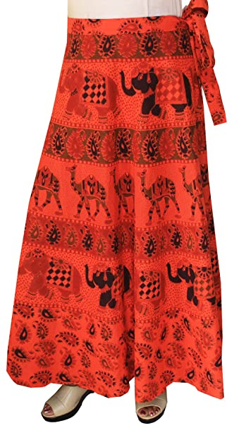 6539b98931 Maple Clothing Womens Long Skirt Wrap Around Printed Cotton Indian Clothes ( Red) at Amazon Women's Clothing store: