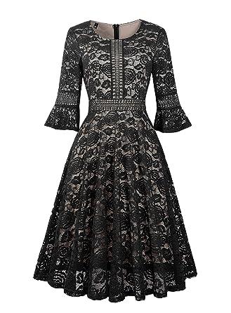 00f9aec4ba29 Twinklady Women s Vintage Full Lace Bell Sleeve Big Swing A-Line Dress ( Black