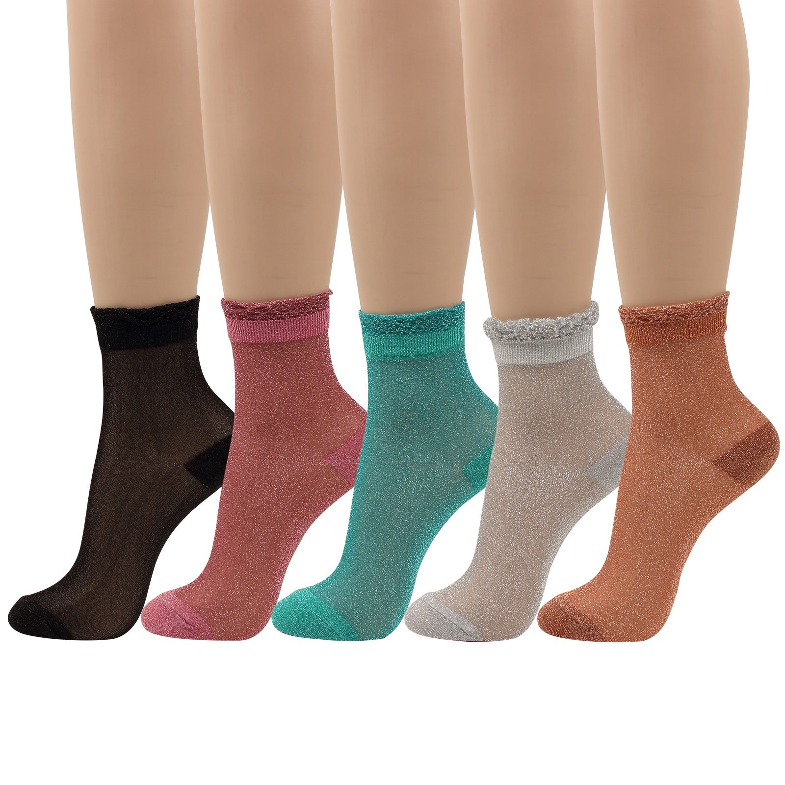 WOWFOOT Women's Lurex Shiny Socks Colorful Gritter Crew Socks for Girl (5 pair - top lace)