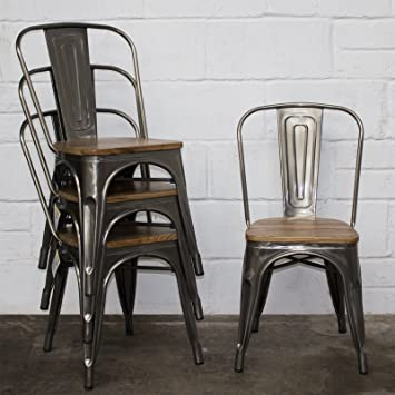 Pleasant Marko Furniture Set Of 4 Steel Industrial Dining Chair Kitchen Bistro Cafe Vintage Wood Seat Home Remodeling Inspirations Genioncuboardxyz