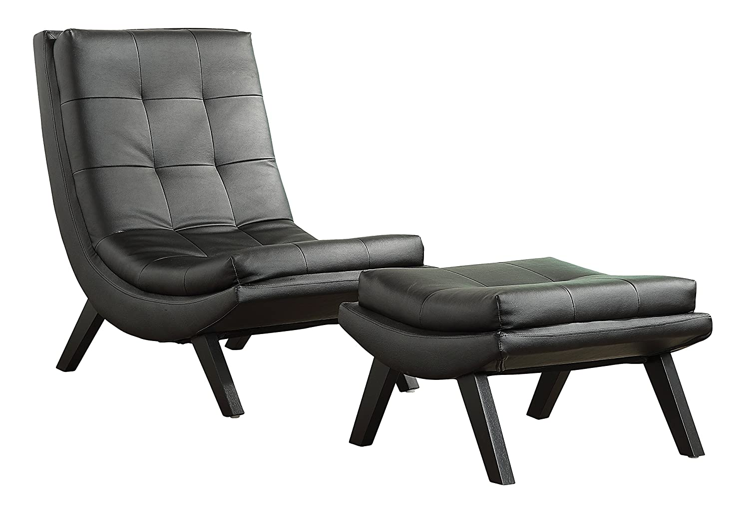 Captivating Amazon.com: AVE SIX Tustin Faux Leather Lounge Chair And Ottoman Set With  Solid Wood Legs, Black: Kitchen U0026 Dining