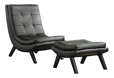Fabulous Ave Six Tustin Faux Leather Lounge Chair And Ottoman Set With Solid Wood Legs Black Dailytribune Chair Design For Home Dailytribuneorg