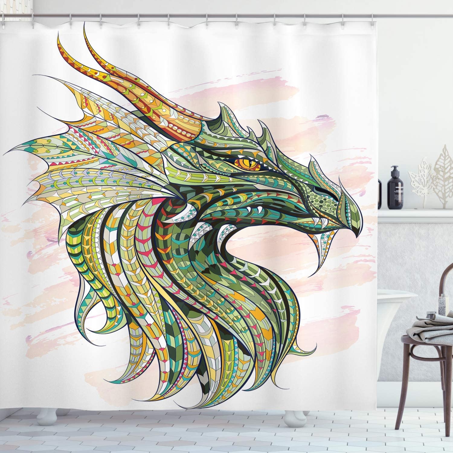 "Ambesonne Celtic Shower Curtain, Head of Dragon with Ornate Effects on Grunge Backdrop Mythical, Cloth Fabric Bathroom Decor Set with Hooks, 75"" Long, White Green"