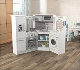 KidKraft Ultimate Corner Play Kitchen Set, White, exclusive