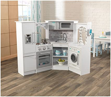 kidkraft ultimate corner play kitchen set white exclusive - Play Kitchen