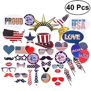 LUOEM Patriotic Photo Booth Props 4 de julio Party Props para American Veterans Day Fiestas del