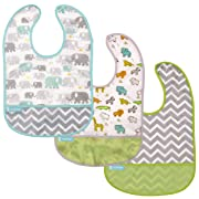 Kushies Cleanbib Waterproof Bib 6-12M 3-Pack White Little Safari / Elephant / Green Chevron