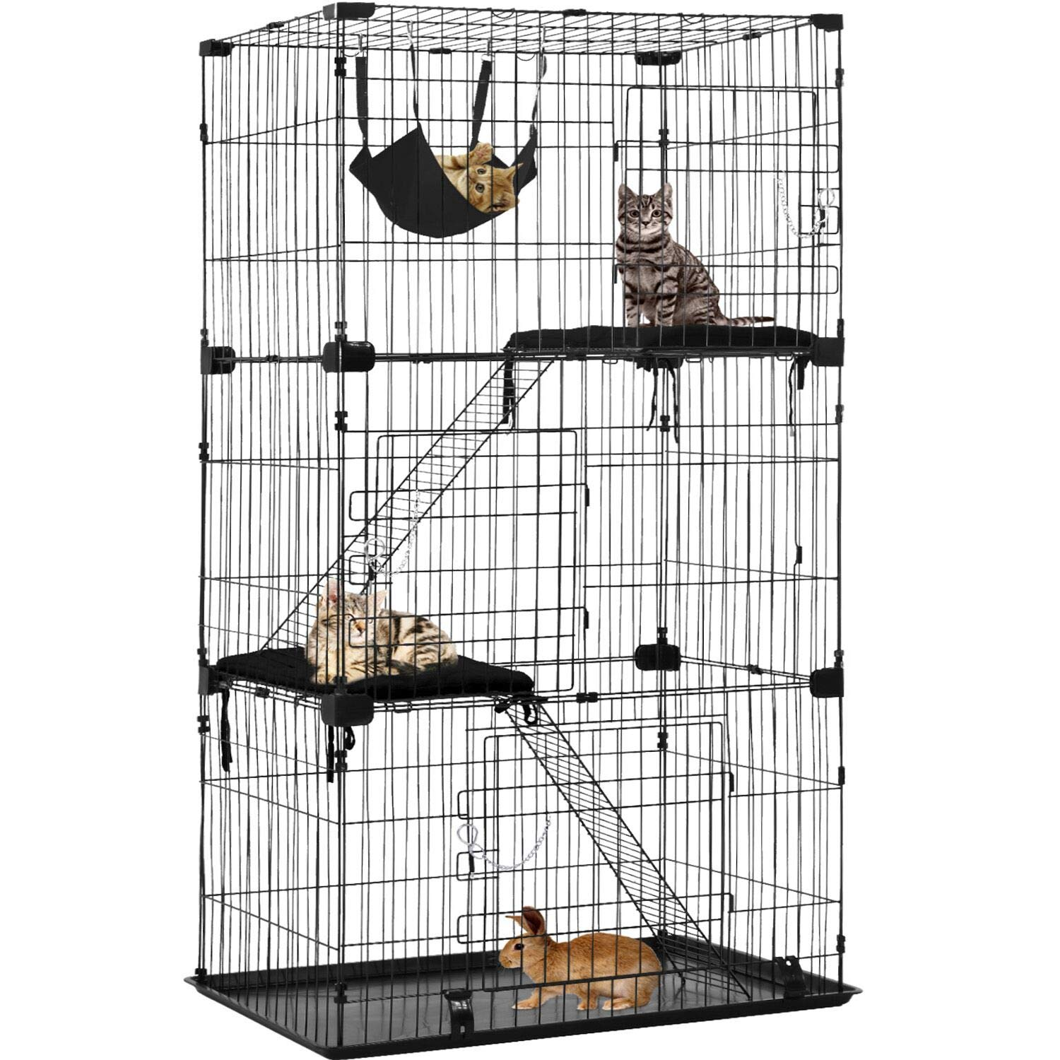 Cat Cage Cat Crate Cat Kennel Cat Playpen with Free Hammock 3 Cat Bed 3 Front Doors 2 Ramp Ladders Perching Shelves,67 inches (Black) by BestPet (Image #1)