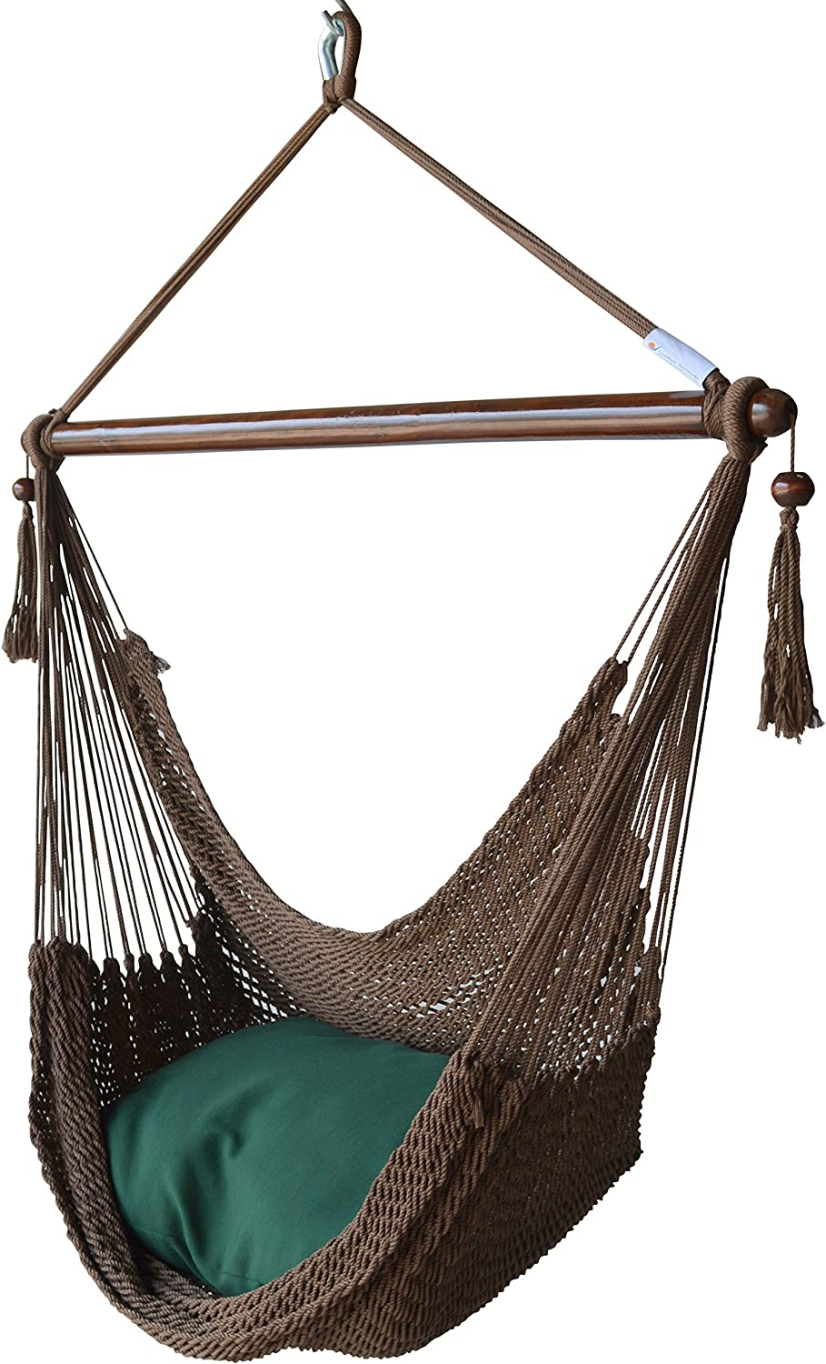 Caribbean Hammocks Hammock Chair with Footrest - 40 inch - Mocha - 200 lbs Weight Capacity