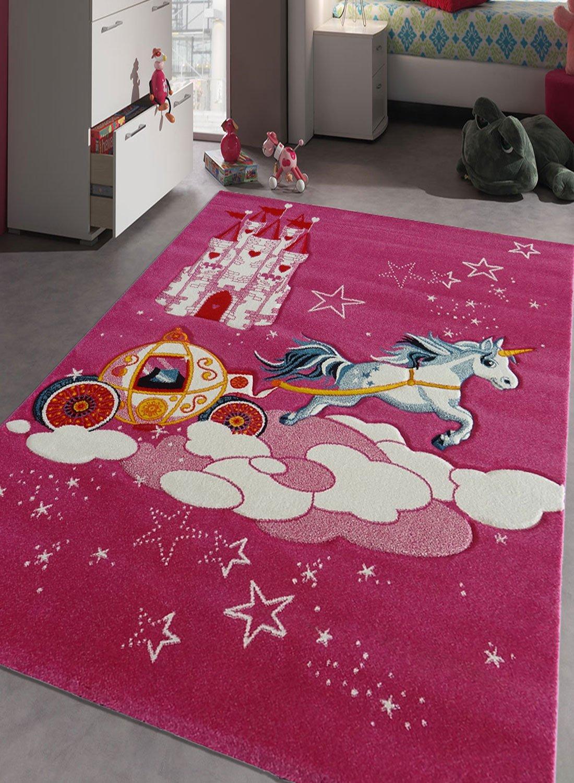 Tapis chambre enfant, fillette, couleur rose, moderne épais et pas cher