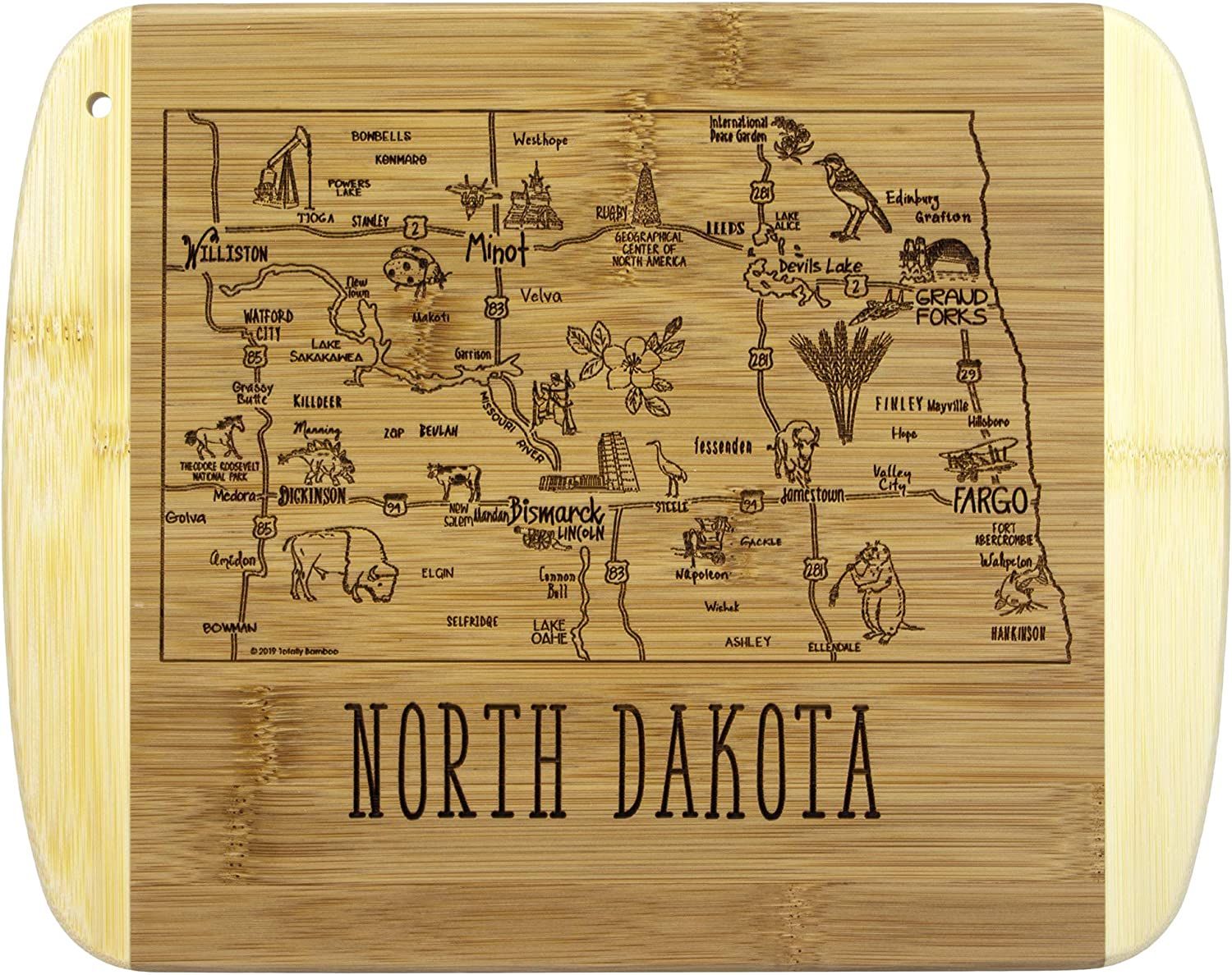 Totally Bamboo A Slice of Life North Dakota Bamboo Serving and Cutting Board