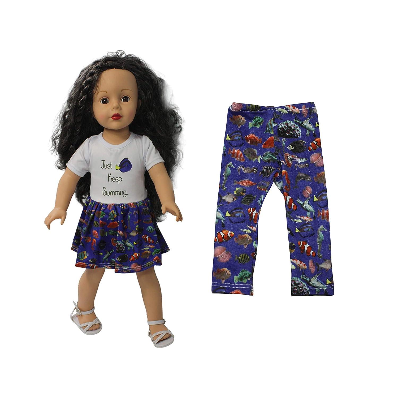 Sea Fish Print Leggings 18 inch Doll Clothes 2 pcs Bundle Fits American Girl 18 Dolls Dream Big Wholesale Doll Clothes Ari and Friends Just Keep Swimming Print Dress