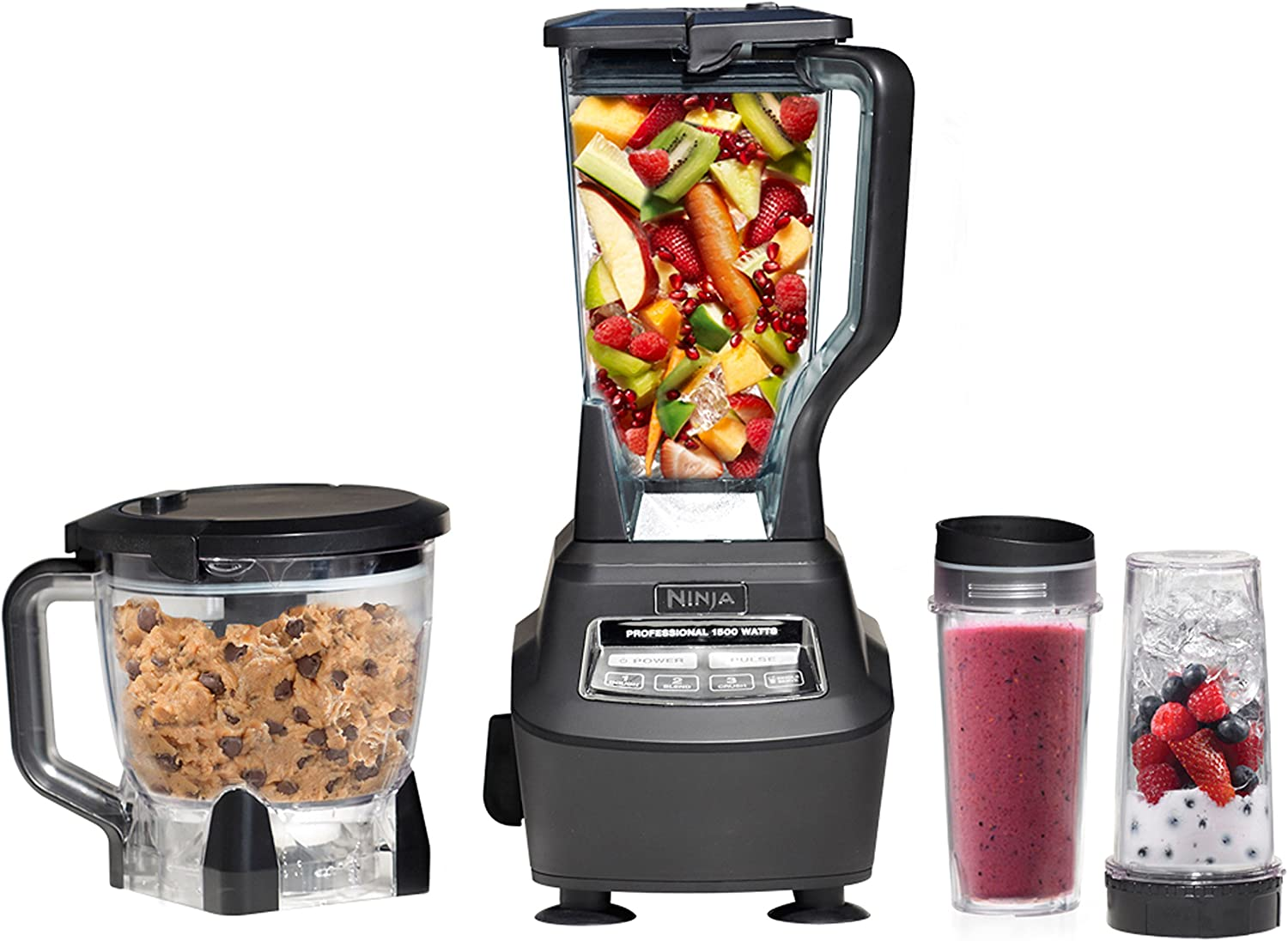 Ninja MEGA comes with a main pitcher, a single-serve bowl and a food processor