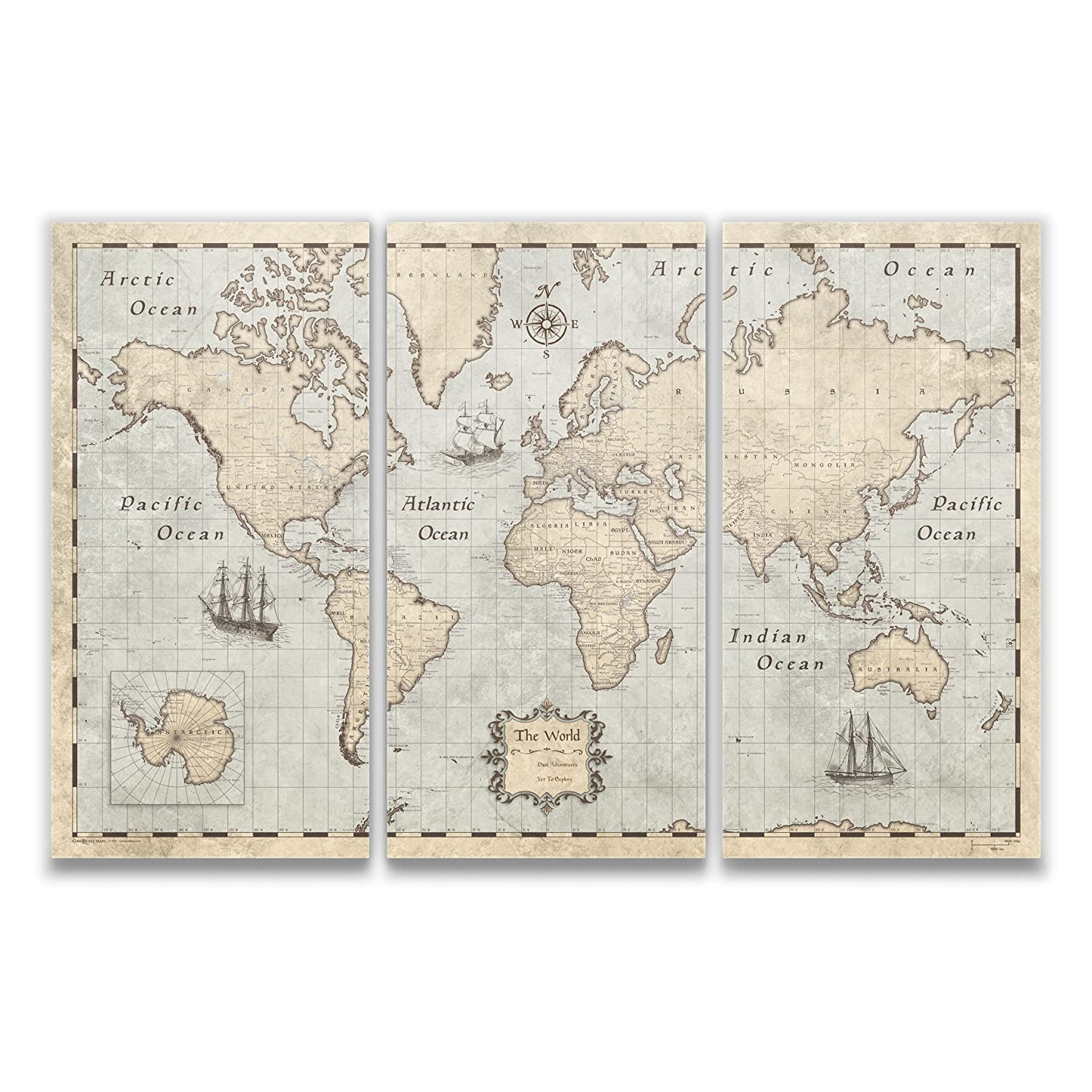World Map Travel Pins.Amazon Com Conquest Maps World Map With Pins Rustic Vintage Style