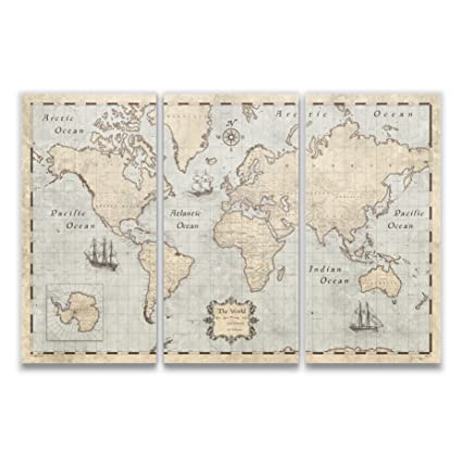 Amazon.com: Conquest Maps World Map with Pins by Rustic Vintage ...