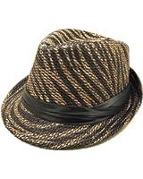 Black & Brown Zebra Print Black Band Fedora Straw Hat