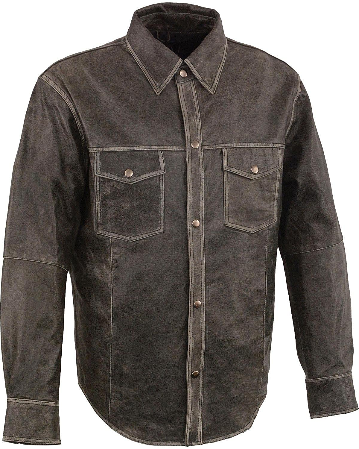 Milwaukee Leather Mens Grey Lightweight Shirt Big and Tall Mlm1605-Distressed Gry-4X