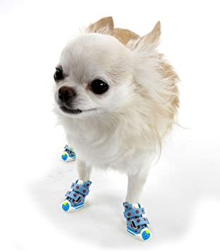 Pack of 4. PetFavorites Cute Puppy Pet Dog Sporty Shoes Lace up Blue or Pink Canvas Dog Boots Nonslip Dog Booties Sneaker for Teacup Chihuahua Yorkie