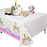 "Extra-Large Unicorn Tablecloth, Set of 2 Unicorn Table Cloth for Birthday Party, 108""x54"" Disposable Table Cover, Ideal…"