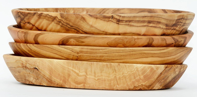 Figura Santa 4 Ovale Schalen LIDO aus Olivenholz Circa 12 x 7,5 cm mit kaltgepresstem Lein/öl eingelassen Mit sehr sch/öner Maserung Jede Schale ist EIN Unikat.