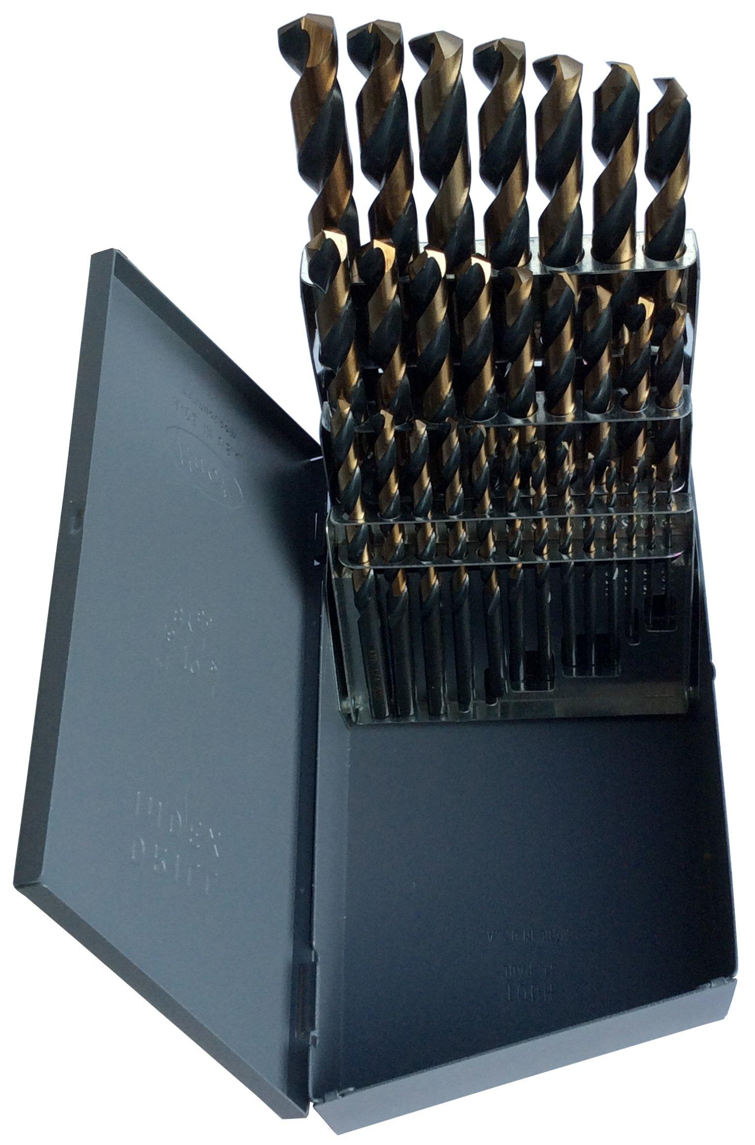 Drill America KFD29J-SET KFD 29 Piece High-Speed Steel Jobber Length Drill Bit Set in Metal Case, Black/Gold Oxide Finish, Round Shank, Spiral Flute, 135 Degrees Split Point (Pack of 1)