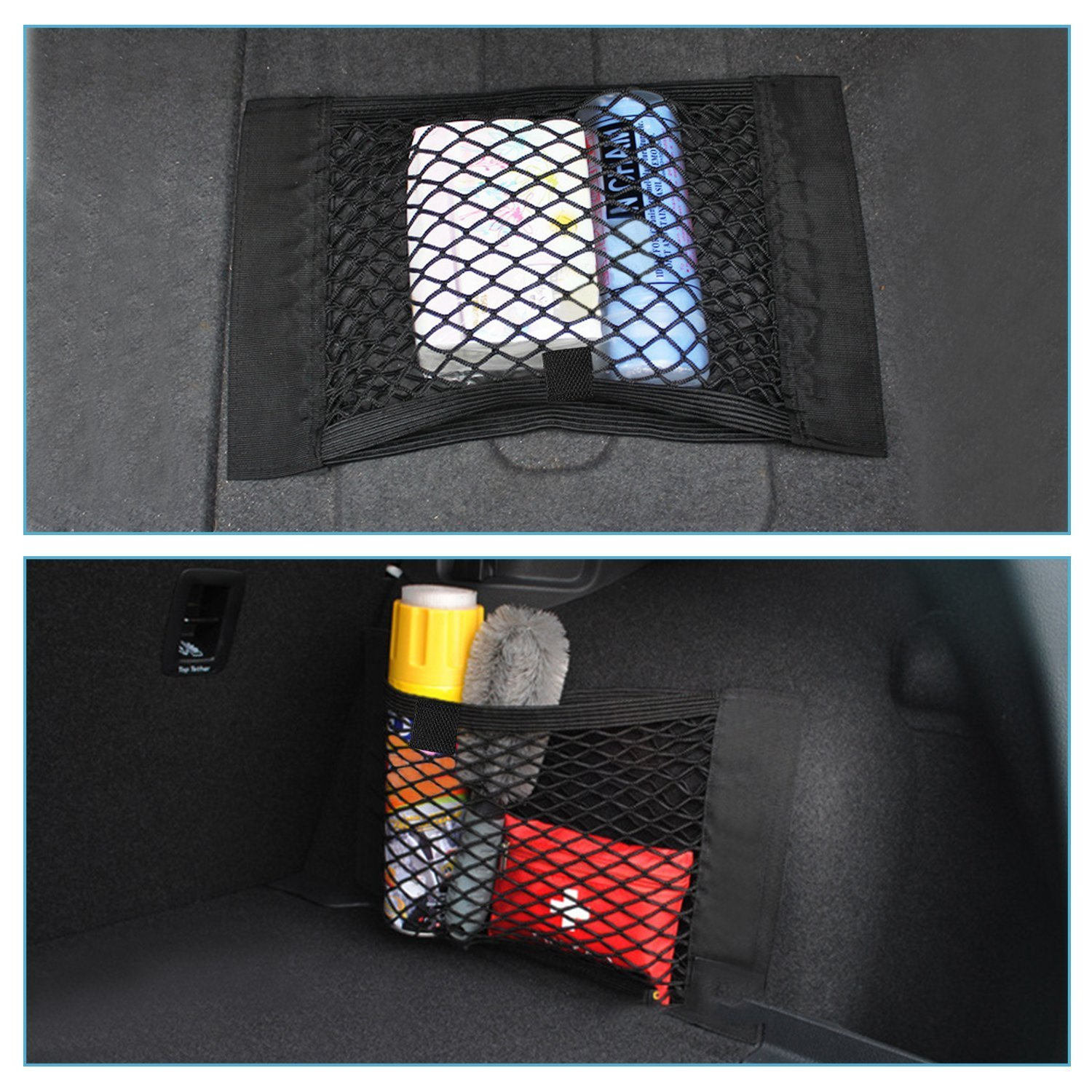 [2 Pieces] EX1 Car Mesh Storage Bag Elastic Organiser Rear Trunk Net Pocket Pouch Holder Accessories