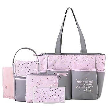Amazon.com: Juego de 5 bolsas para pañales con sol, luna y ...