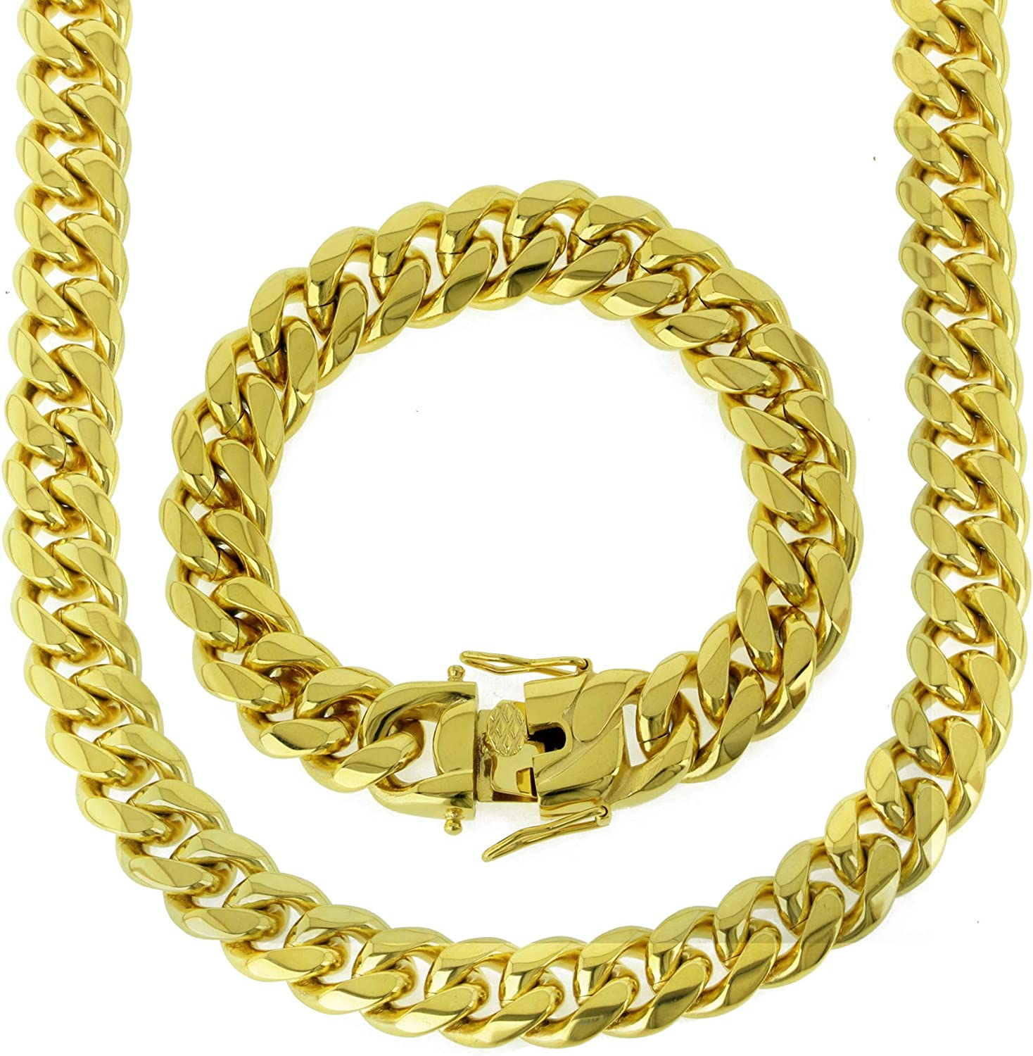 Bling NY Solid 14k Yellow OFFicial Finish 16mm Gold Stainless Steel Virginia Beach Mall