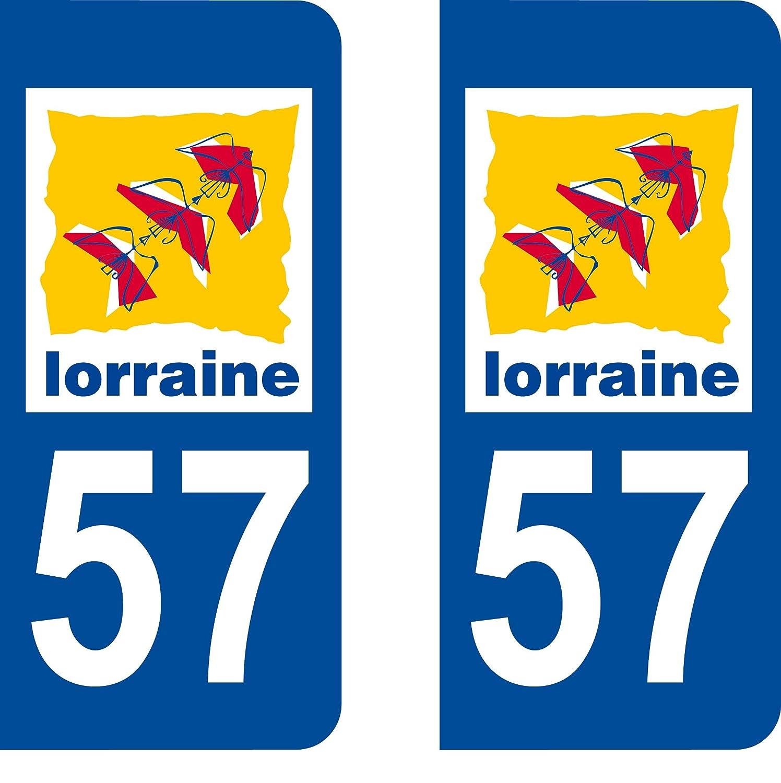2 Stickers de plaque d'immatriculation auto 57 Lorraine - LogoType SAFIRMES