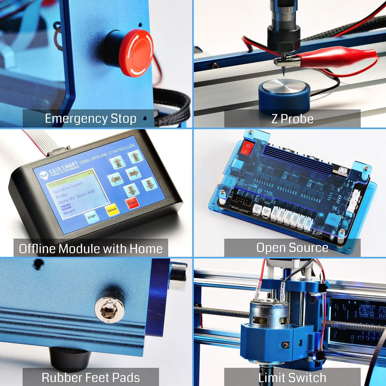 GRBL-Steuerung Not-Aus-Schalter und Acrylschutzscheiben SainSmart Genmitsu CNC Fr/äs-//Graviermaschine 3018-PROVer Kit Offline-Controller mit Aluminium-Rahmen