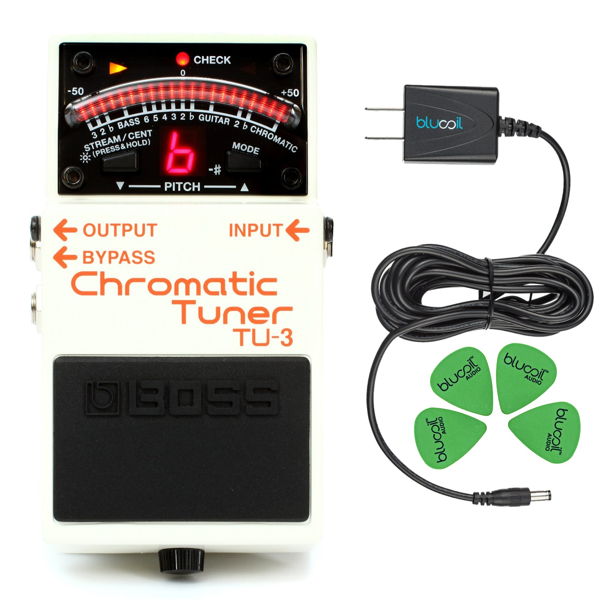 BOSS TU-3 Chromatic Tuner for Electric & Bass Guitars –INCLUDES– Blucoil Guitar Pedal Power Supply Adapter 9 Volt 670mA for Guitar Pedals AND Guitar Picks