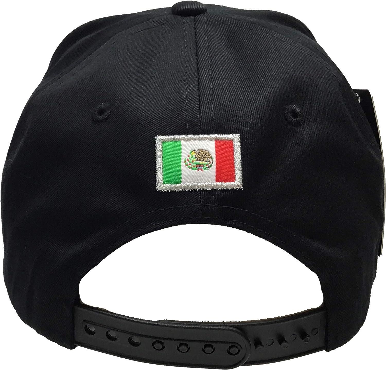 Mexico Aguila Silver 3D el Chapo Silver en la Visera 4 Logos hat Black Snapback