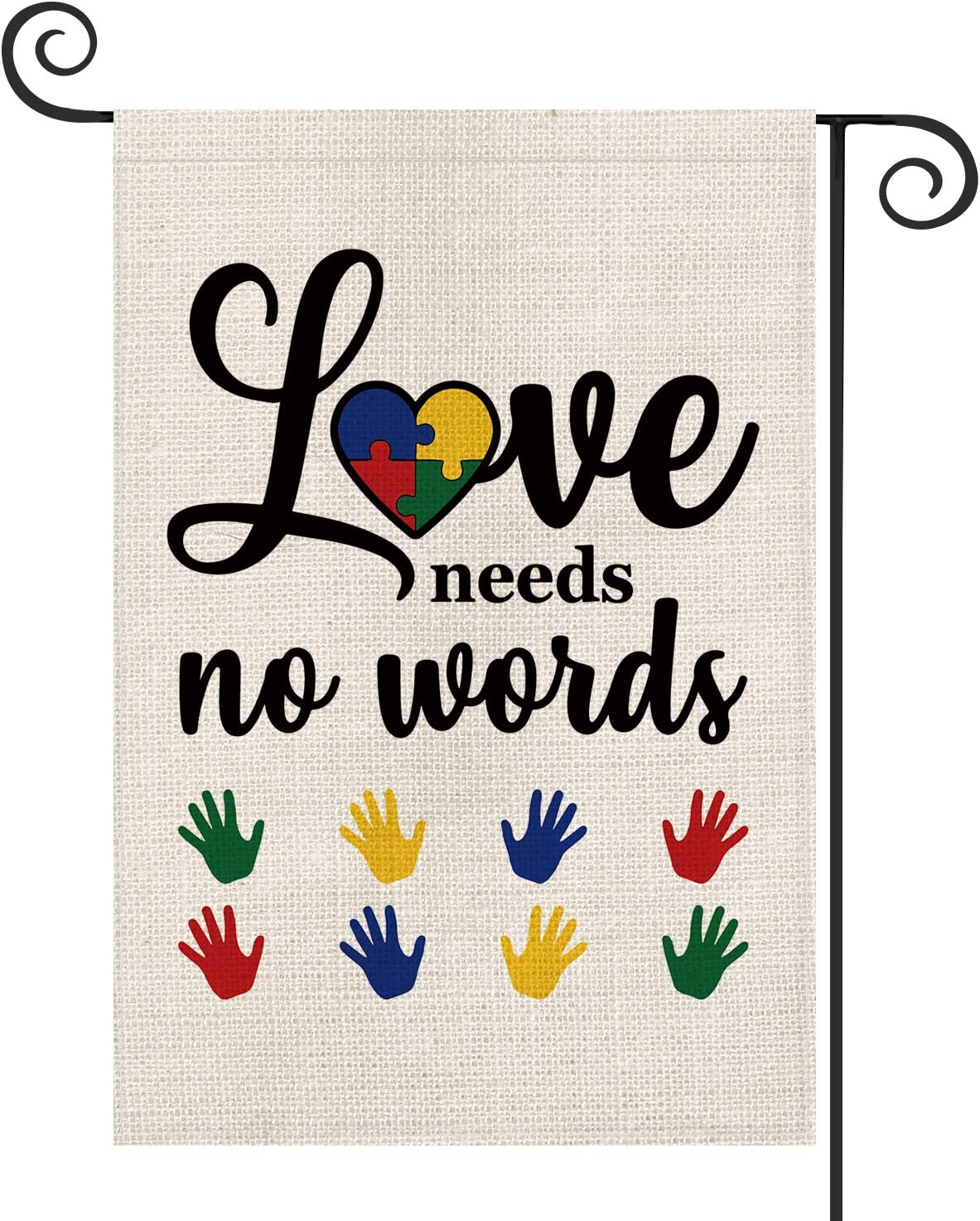 AVOIN Autism Hands Love Heart Garden Flag Vertical Double Sized, Love Needs No Words Puzzle Piece Inspirational Support Yard Outdoor Decoration 12.5 x 18 Inch