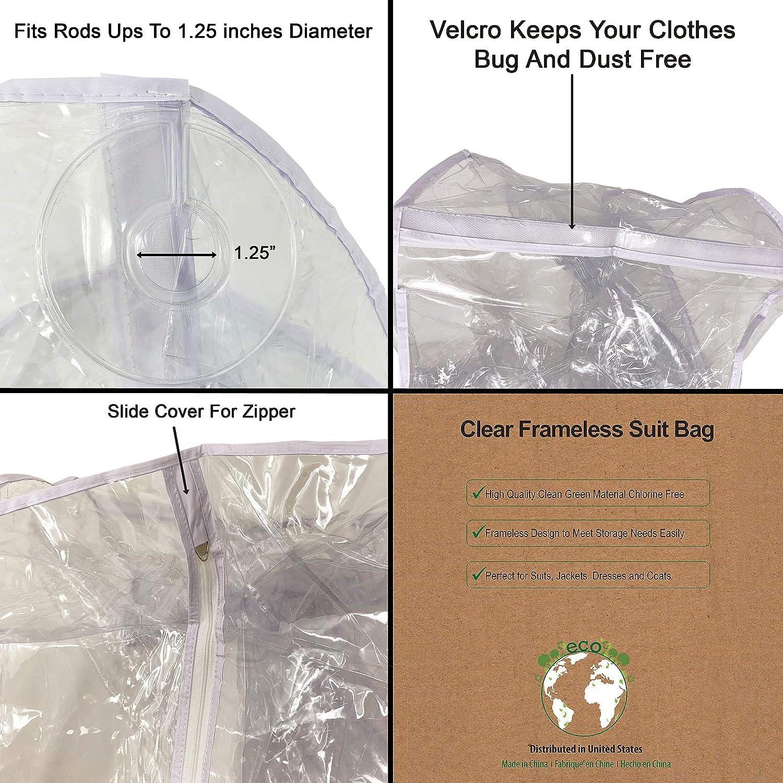 d6d61589aea7 HUJI Superior Quality Clear Vinyl Frameless Suit Garment Coat Gown Dress  Storage Bag (1, Clear)