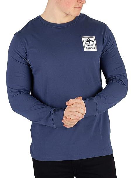 Timberland Herren Langärmliges Grafik T Shirt, Blau: Amazon