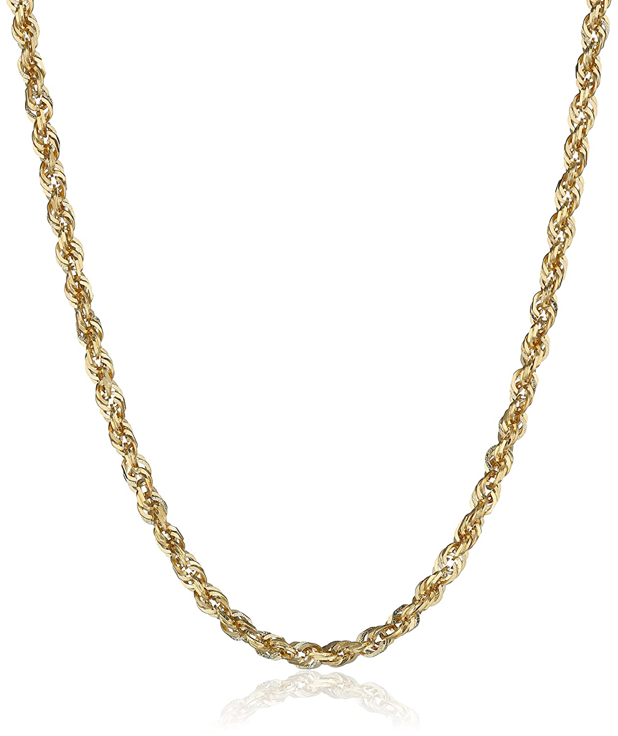 ded9b34a2e57a Duragold Men's 14k Gold Solid Diamond-Cut Rope Chain Necklace (2.5mm)