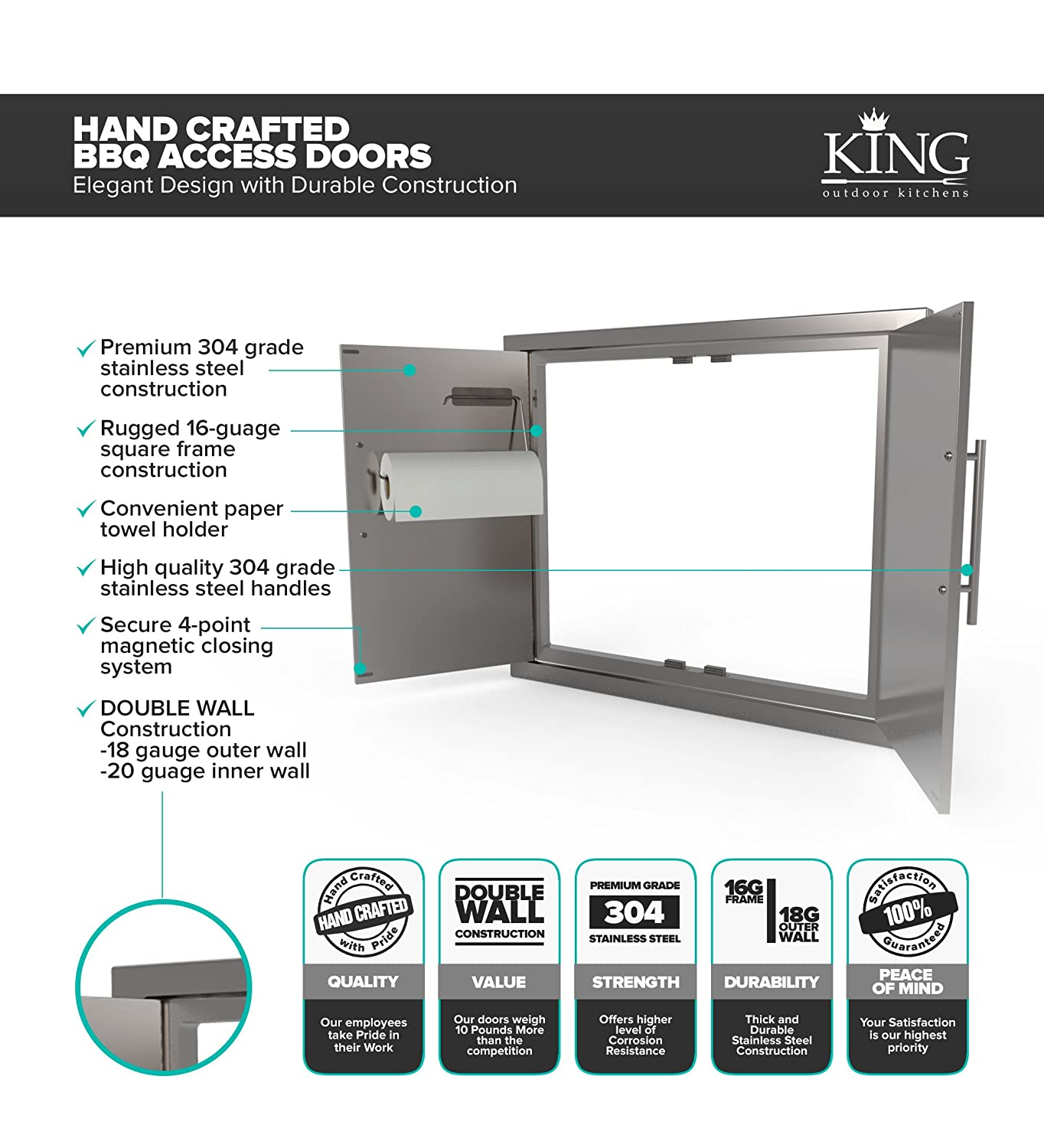 BBQ ACCESS DOOR/ELEGANT NEW STYLE* 31 Inch 304 Grade Stainless ...
