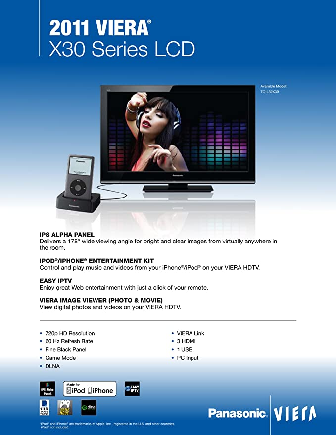 Amazon com: Panasonic VIERA TC-L32X30 32-Inch 720p LCD HDTV