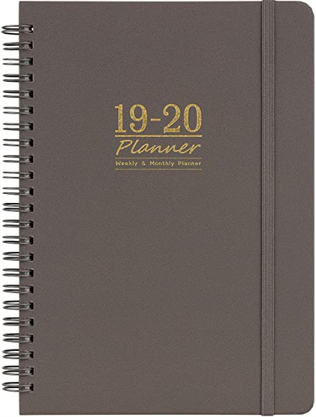 2019-2020 Academic Planner - 12 Month Calendar with Monthly Tabs, July 2019 - June 2020, Flexible Cover with Twin-Wire Binding, Banded, 6.45