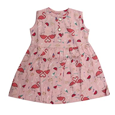 7993b476b0e611 Kaboos 100% Cotton Pink Colour Sleeveless Frock for Baby Girls (3-6 Months