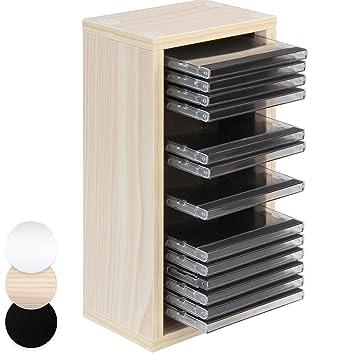 jago cd stand for 20 cds storage rack shelf cd holder beige