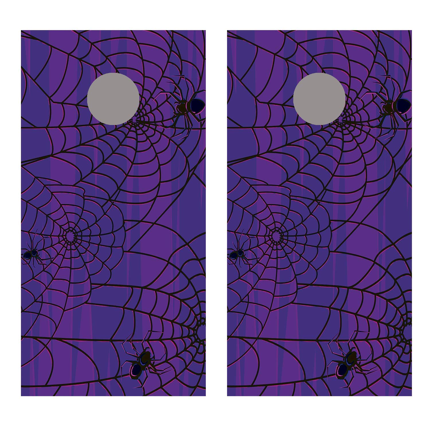 Let's Print Big Spider Webs Over Purple コーンホールボードデカールラップ B07HBDS6W7