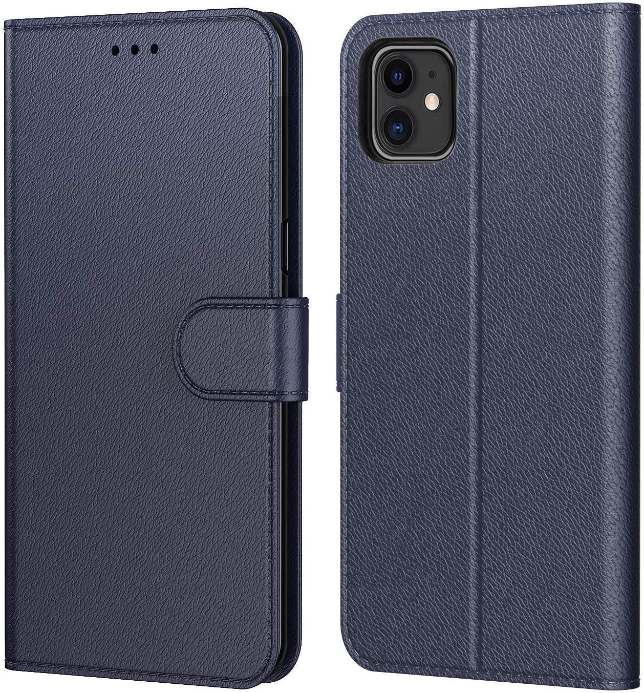 AURSTORE Etui Coque iPhone 11 2019 Fonction Support pour Languette Magn/étique Emplacements Cartes Protection Housse en Cuir PU Pochette, 6,1 Pouce Bleu , iPhone 11 6,10 Pouces ,