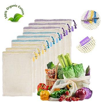 12 bolsas reutilizables de malla para productos de alimentos, bolsas ecológicas lavables para almacenamiento de alimentos, frutas, verduras, juguetes, ...