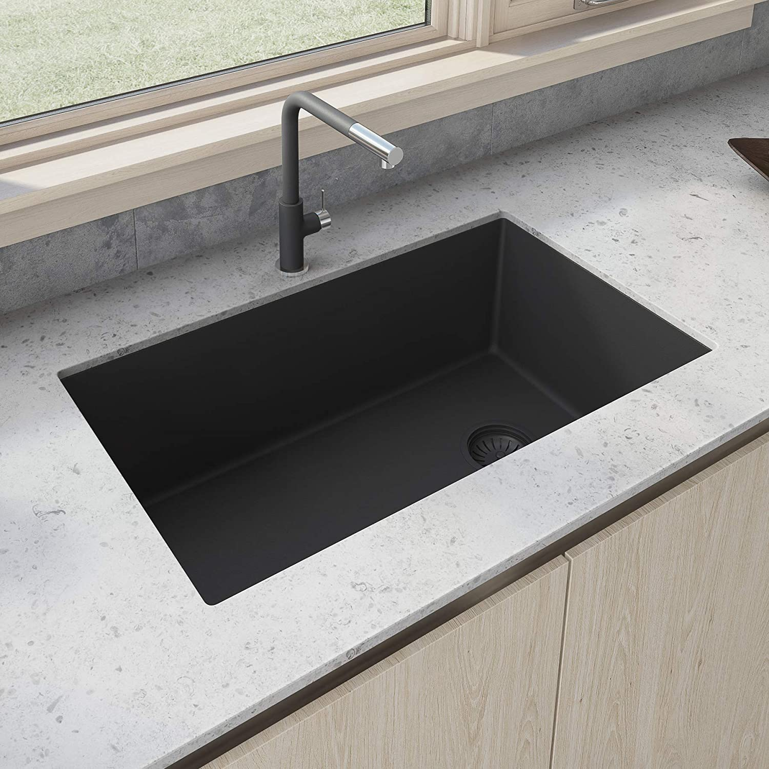 Ruvati 32 x 19 inch Undermount Granite Composite Single Bowl Kitchen Sink - Midnight Black - RVG2033BK