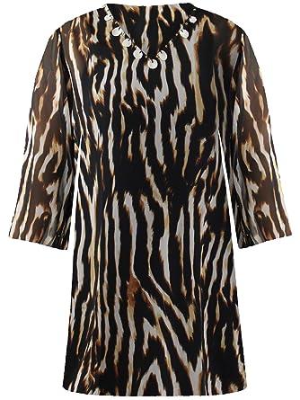 13733da762925 Luxury Divas Brown Plus Size Animal Print Sheer Swimwear Cover Up Size X- Large