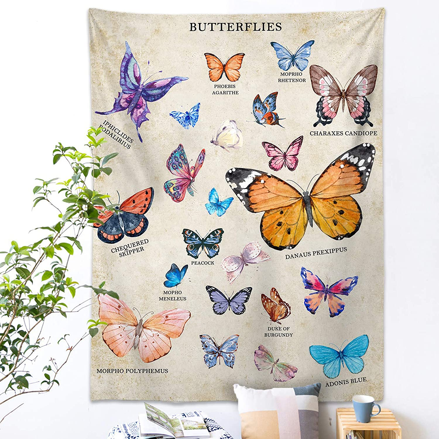 Butterfly Tapestry Wall Hanging - Vintage Beige Tapestry Wall Blanket with Word Vsco Room Decor for Bedroom, Living Room and Dorm 44x60 Inches